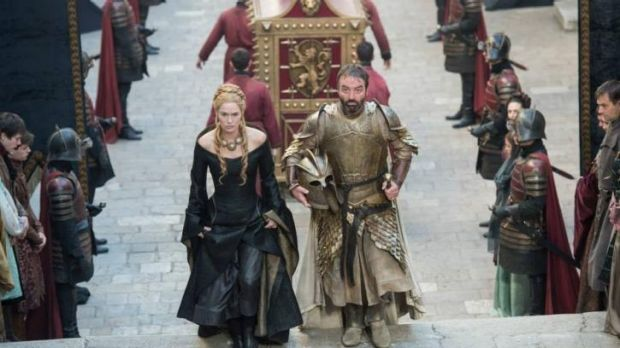 <i>Game of Thrones</i> season 5: Cersei Lannister being escorted by Meryn Trant to her father's crypt.