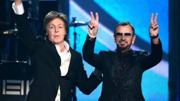Ringo Starr (right) says Paul McCartney pulled a few strings to get him into the Rock and Roll Hall of Fame this weekend.