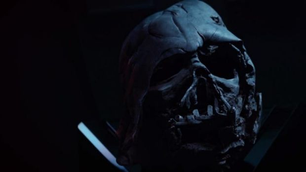 Darth Vader's burnt mask also appears in the trailer.
