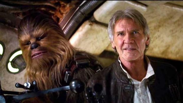 'Chewie, we're home!' ... Harrison Ford returns as the fast-talking Han Solo with co-pilot and friend, wookie Chewbacca. ...