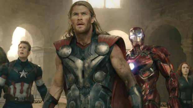 Too much of a good thing: Captain America (Chris Evans), Thor (Chris Hemsworth), Iron Man (Robert Downey Jr.), Black ...