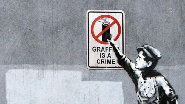 Still from the HBO documentary <i>Banksy Does New York</i>.