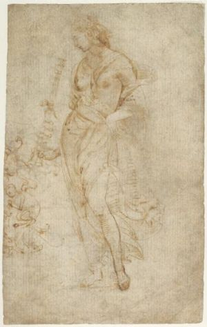 Attributed to Raphael, Female Figure with a Tibia, dated c. 1504-1509, pen and brown, ink, 30.5 x 44.5cm, in J. Paul ...