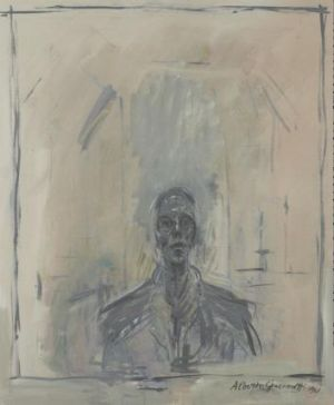 John Myatt, in the style of Giacometti, Portrait of Samuel Beckett, 1961, oil on canvas. One of Myatt's' 'genuine ...
