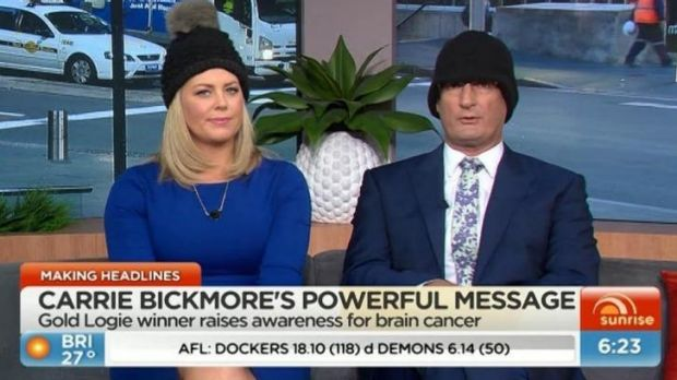 Sunrise co-hosts Samantha Armytage and David Koch took up Carrie Bickmore's challenge.