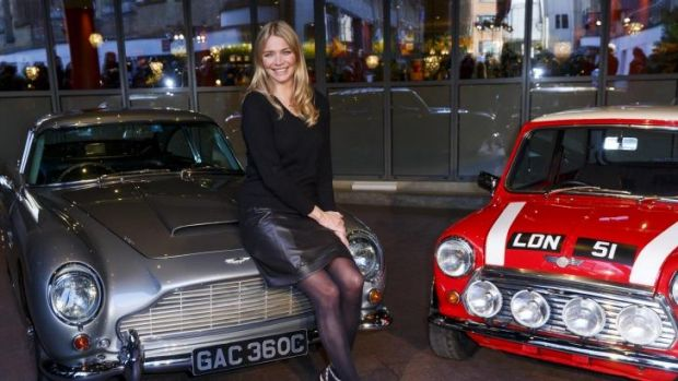 Petrolhead: Jodie Kidd host of <i>The Classic Car Show</i>, with an Aston Martin DB5 and Mini Cooper at the Soho Hotel ...