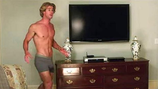 A very buff Chris Hemsworth, wearing just boxer shorts and prosthetically enhanced appendage, leaves little to the ...