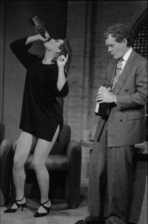 Brooke Shields demonstrates wine-glugging for David Letterman in an early show.