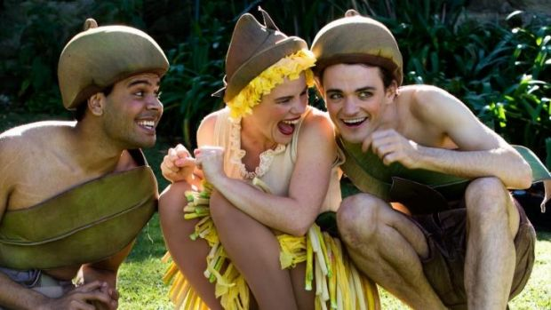 L-R Kerri Simpson (standing in for Kirk Page) as Cuddlepie, Georgia Adamson as Ragged Blossom, and Jacob Warner as ...