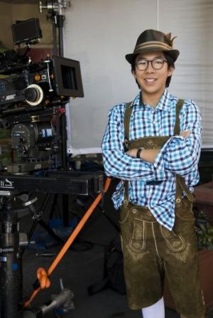 Actor Trystan Go on set as Benjamin Law in the new SBS TV series The Family Law, currently filming in Sunnybank.