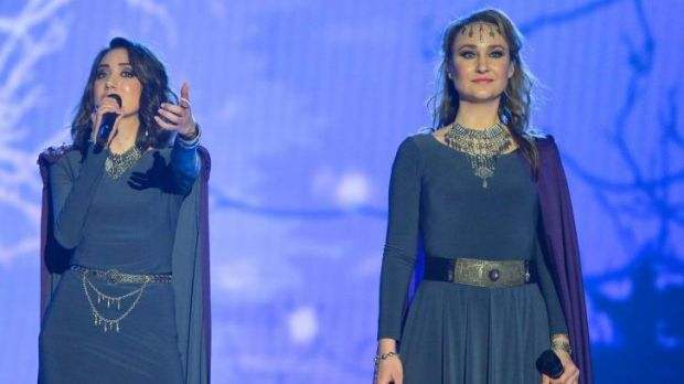 Mary-Jean O'Doherty (right) during Armenia's rehearsal for Eurovision.