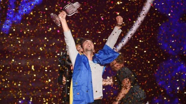 Mans Zelmerloew of Sweden reacts after winning the Eurovision Song Contest.