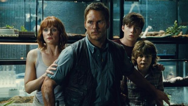 Bryce Dallas Howard (from left) as Claire, Chris Pratt as Owen, Nick Robinson as Zach, and Ty Simpkins as Gray in ...