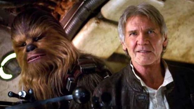 'Chewie, we're home!' ... Harrison Ford as the fast-talking Han Solo with co-pilot and friend, wookie Chewbacca in ...