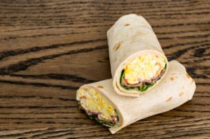 """The """"greasy"""" meal option is a breakfast wrap."""