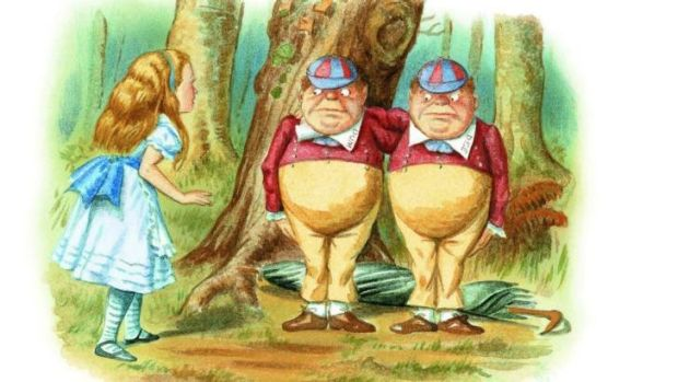 Alice meets Tweedle Dum and Tweedle Dee in  <i>The Complete Alice</i>. Illustrations coloured by Diz Wallis,  Macmillan ...