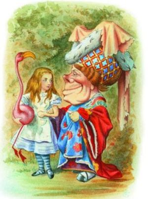 Alice encounters the Queen of Hearts, from <i>The Complete Alice</i>. Illustrations coloured by Diz Wallis,  Macmillan ...