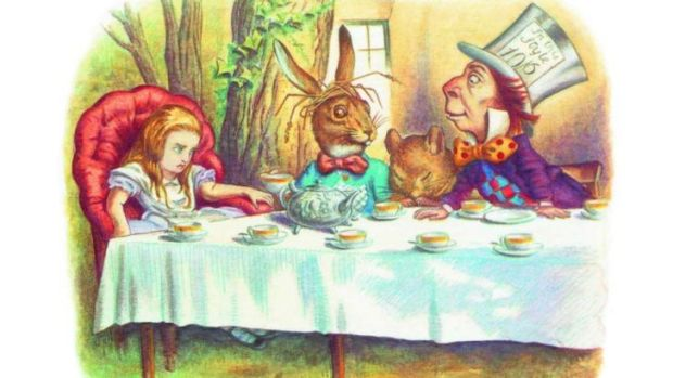 Alice looks a little grumpy at the Mad Hatter's Tea Party  in  <i>The Complete Alice</i>. Illustrations coloured by Diz ...