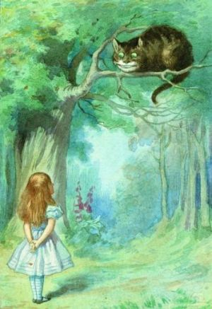 Alice meets the Cheshire Cat, from <i>The Complete Alice</i>. Illustrations coloured by Diz Wallis,  Macmillan ...