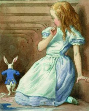 Alice wonders at the Mat Hatter in  <i>The Complete Alice</i>. Illustrations coloured by Diz Wallis,  Macmillan ...