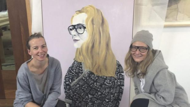 Eva Orner (right) with artist Sally Ross and the portrait which has made the Archibald Prize finals.