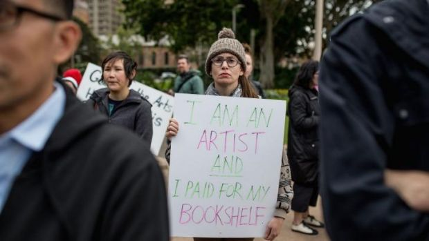 Budget cuts to arts funding set off protests such as this one in Hyde Park.