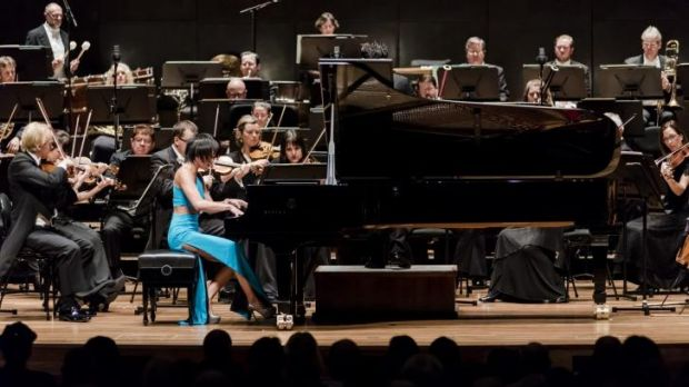 Pianist Yuja Wang performs with the Melbourne Symphony Orchestra.