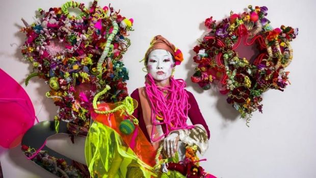 Artist Hiromi Tango with her colourful exhibition Fluorescence at the Sullivan+Strumpf.