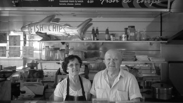Jim and Pam in their High Street Fish and Chip Shop, 2014, by David Wadelton.