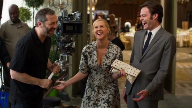 Judd Apatow, Amy Schumer and Bill Hader on set of the film <i>Trainwreck</i>.