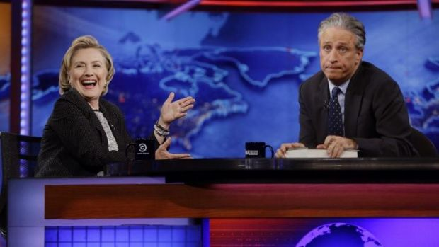 Hillary Clinton on <i>The Daily Show</i> in July last year.