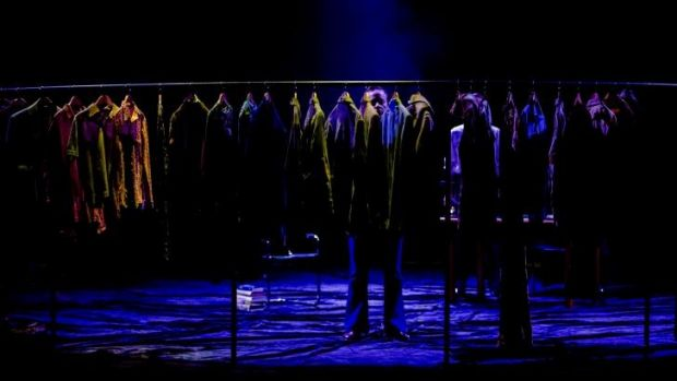 Set changes in <i>Betrayal</i> are covered by the rumbling movement of a huge circular clothes rack