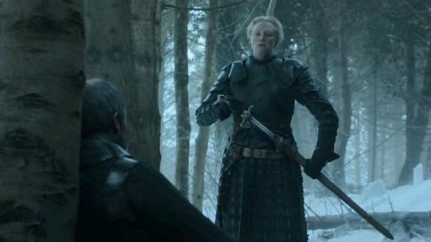 Not looking good ... Brienne of Tarth draws her sword before the defeated Stannis Baratheon at the end of <i>Game of ...