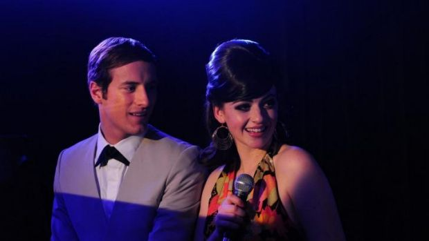 Joel Jackson as Peter Allen and Sara West as Liza Minnelli in <i>Not the Boy Next Door</i>.