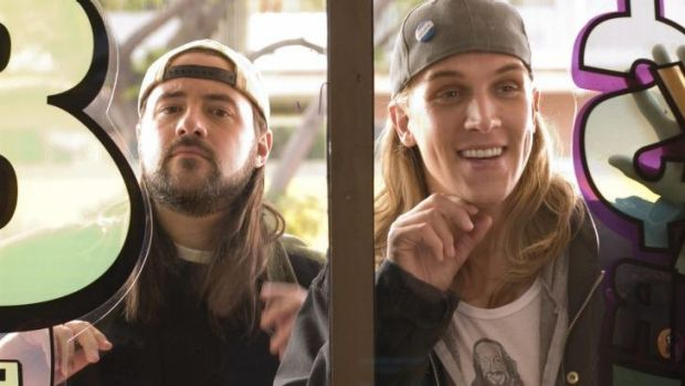 Silent Bob (Kevin Smith) and Jason Mewes (Jay) in <i>Clerks II</i>.