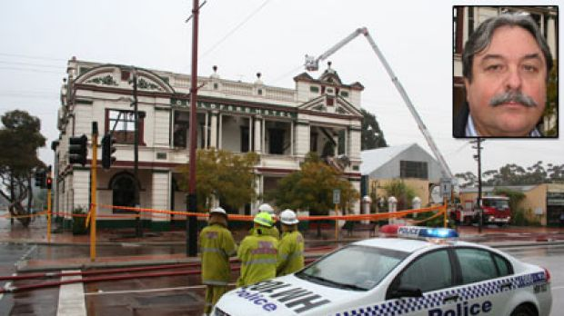 The remains of the Guildford Hotel which was gutted by fire. Owner Domenic Martino (inset).