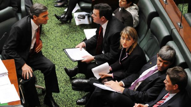 Unfamiliar territory: Opposition Leader Ted Baillieu, bottom right, on the Government's side of the house with Premier ...