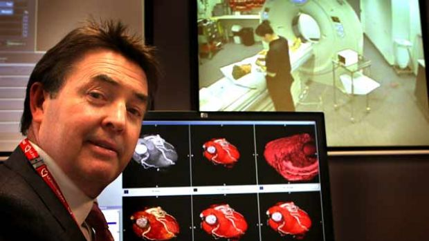 Professor Ian Meredith shows the high-quality images produced by Monash's new CT scanner.