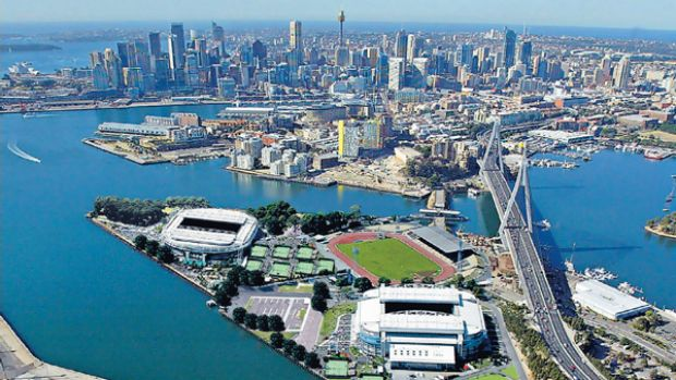 An artist's impression of Melbourne Park's sports arenas as they would look on Glebe Island in Sydney. Digitally altered ...
