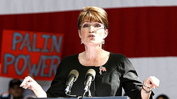 Sarah Palin speaks to supporters during a rally in Henderson, Nevada.
