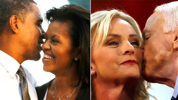 Left, Barack and Michelle Obama and right, John and Cindy McCain.
