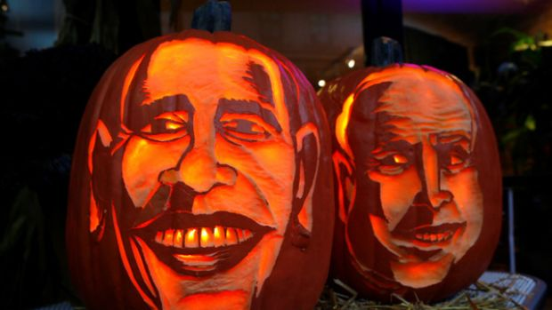Heading for victory: The US election is a frightening prospect for some, and these carved Halloween pumpkins on show in ...