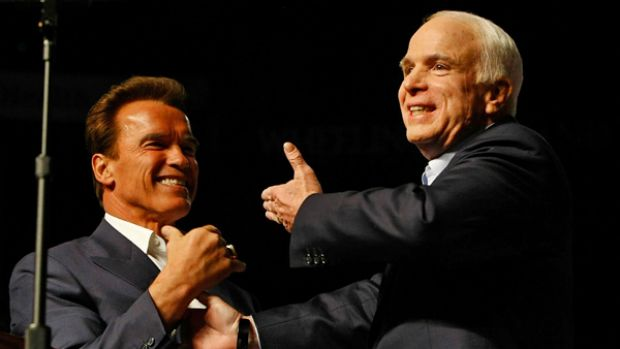 Republican presidential nominee John McCain is introduced by Calfornia Governor Arnold Schwarzenegger at a rally.