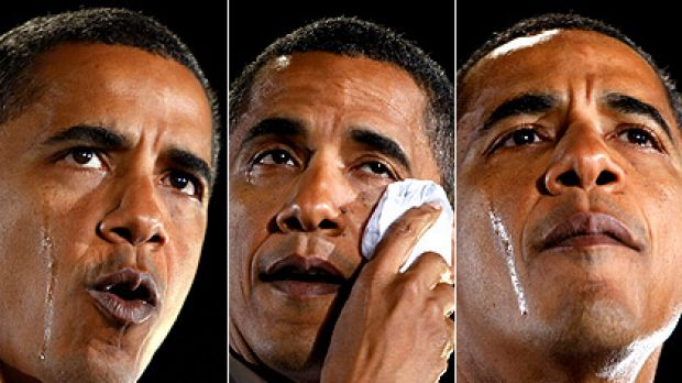 Barack Obama sheds tears as he talks about his grandmother, Madelyn Payne Dunham, at a rally in Charlotte, North Carolina.