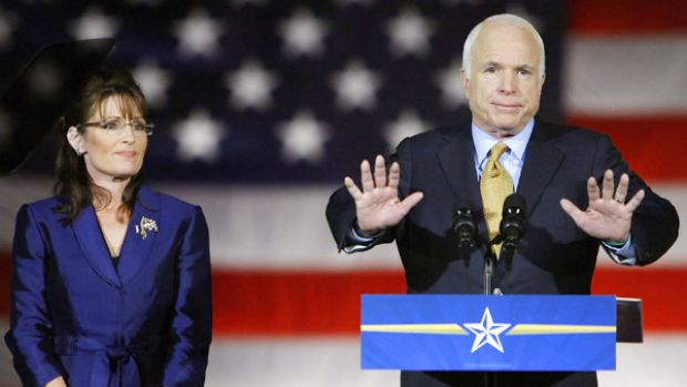 Defeated Republican presidential candidate John McCain, with his vice-presidential nominee Sarah Palin, during his ...