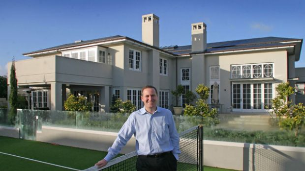 John Key at his palatial home in St Stevens Ave, Parnel.