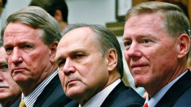 General Motors chairman and CEO Richard Wagoner (left), his Chrysler counterpart Robert Nardelli and Ford CEO and ...