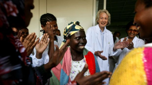 Doctor Catherine Hamlin with staff and cured patients during a dance of joy.