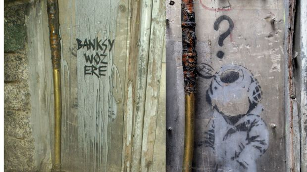The Little Diver by Banksy (right) and after the vandals struck (left)