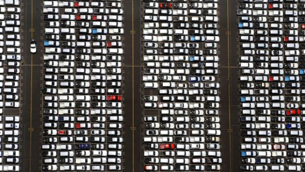Looking for a park? Unsold vehicles at Webb Dock yesterday. About 100,000 unsold new cars are languishing around ...